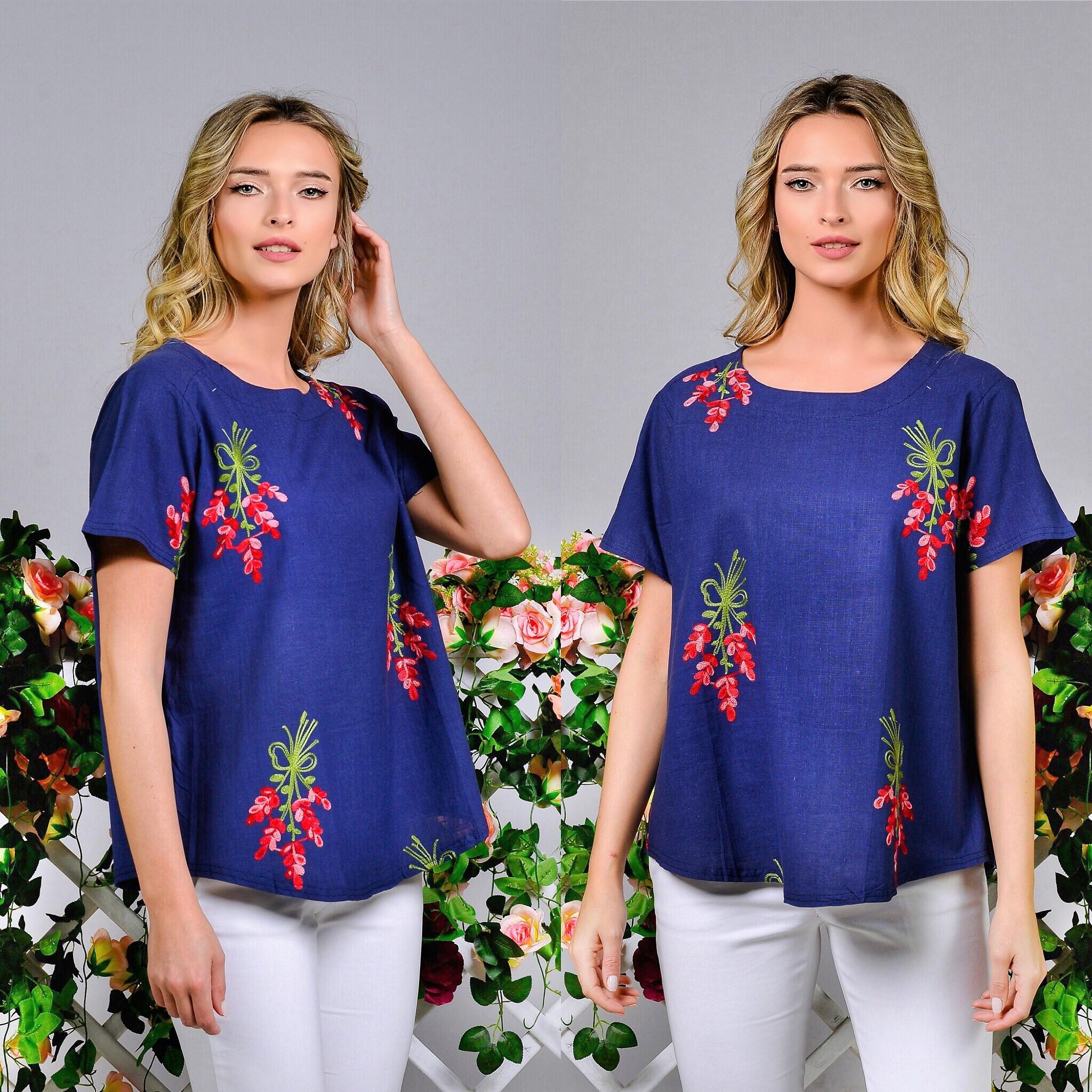 Bluza bleumarin brodata - Tania