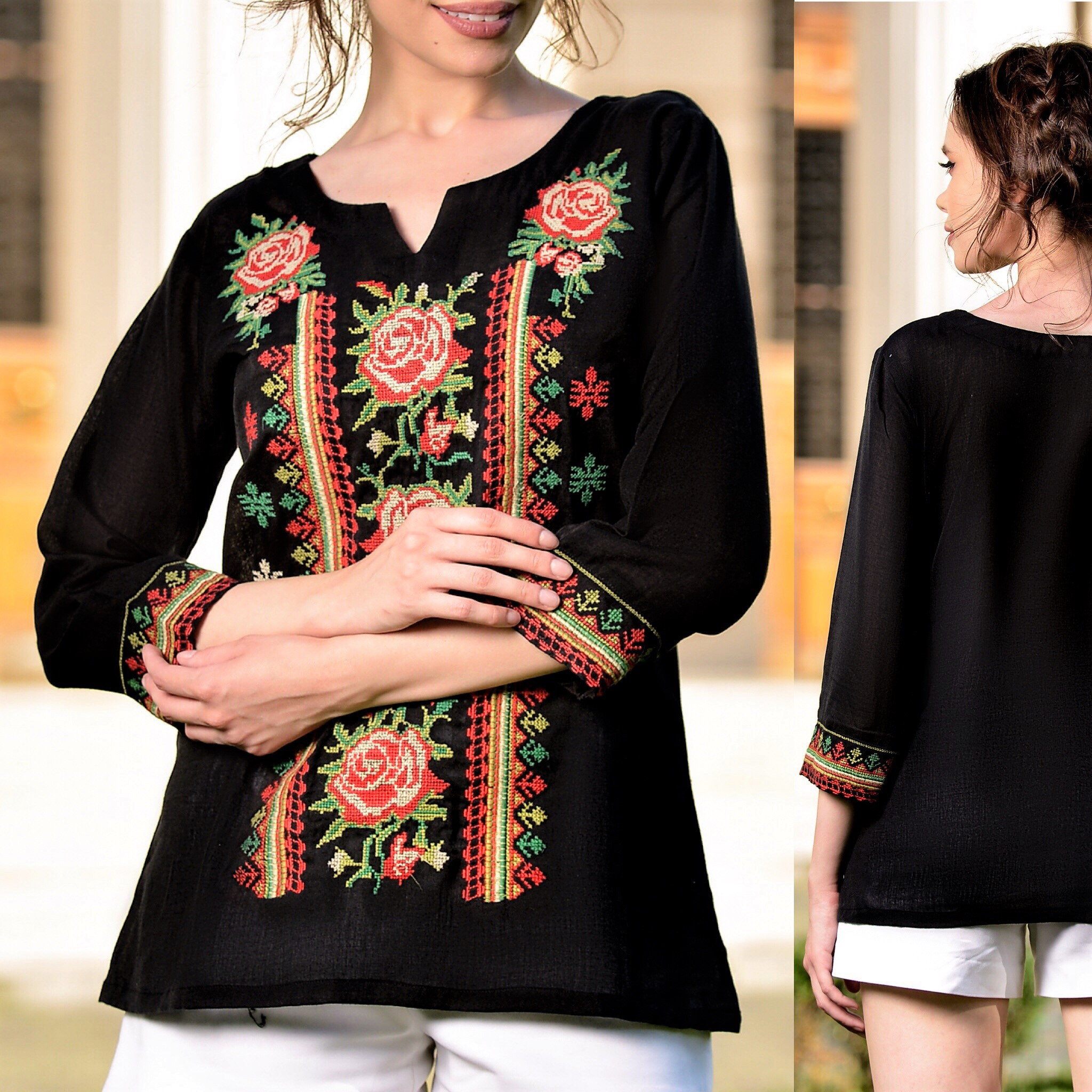 Bluza brodata neagra cu flori - Brandusa 03