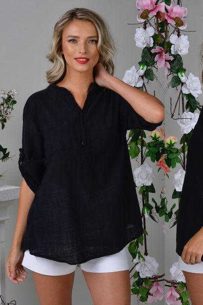 Bluza din in neagra cu guler tunica