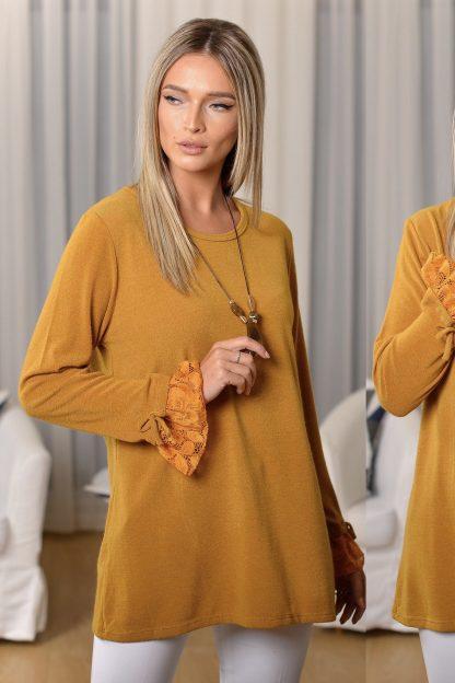 Bluza din tricot galbena cu volane si lantisor inclus