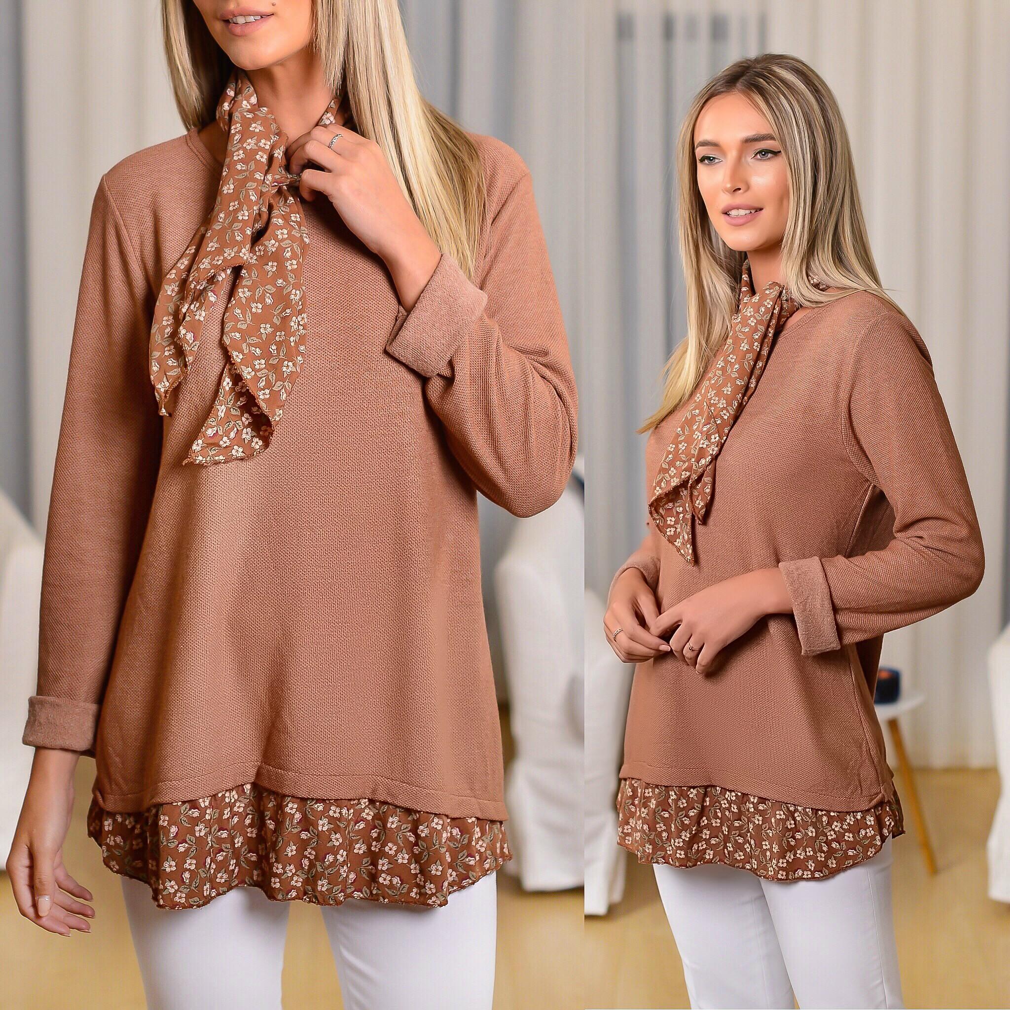 Bluza din tricot maro cu volane si esarfa inclusa