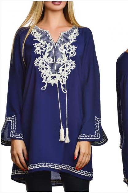 Bluza lunga traditionala stilizata - LINDA bleumarin 05