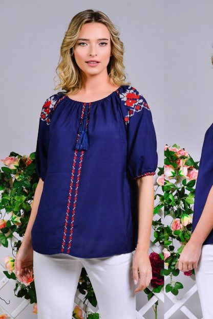 Bluza Nationala tip ie bleumarin cu broderie florala - Ilinca