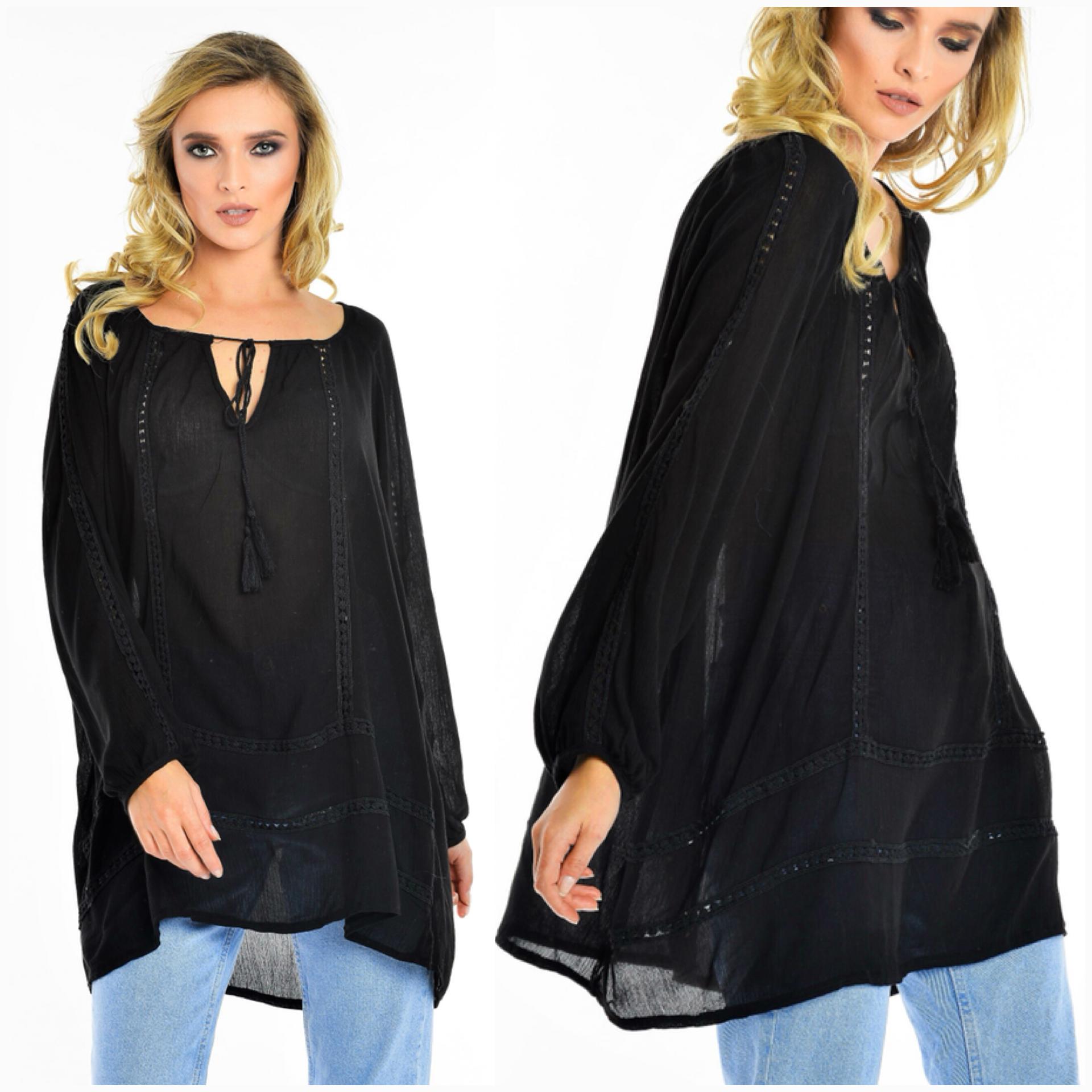Bluza vaporoasa neagra - Perla 02