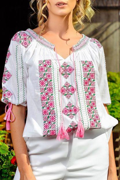 Bluza Traditionala cu broderie florala roz - Anais