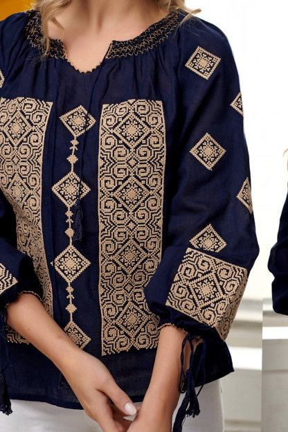 Bluza Traditionala brodata - Briana bleumarin 01
