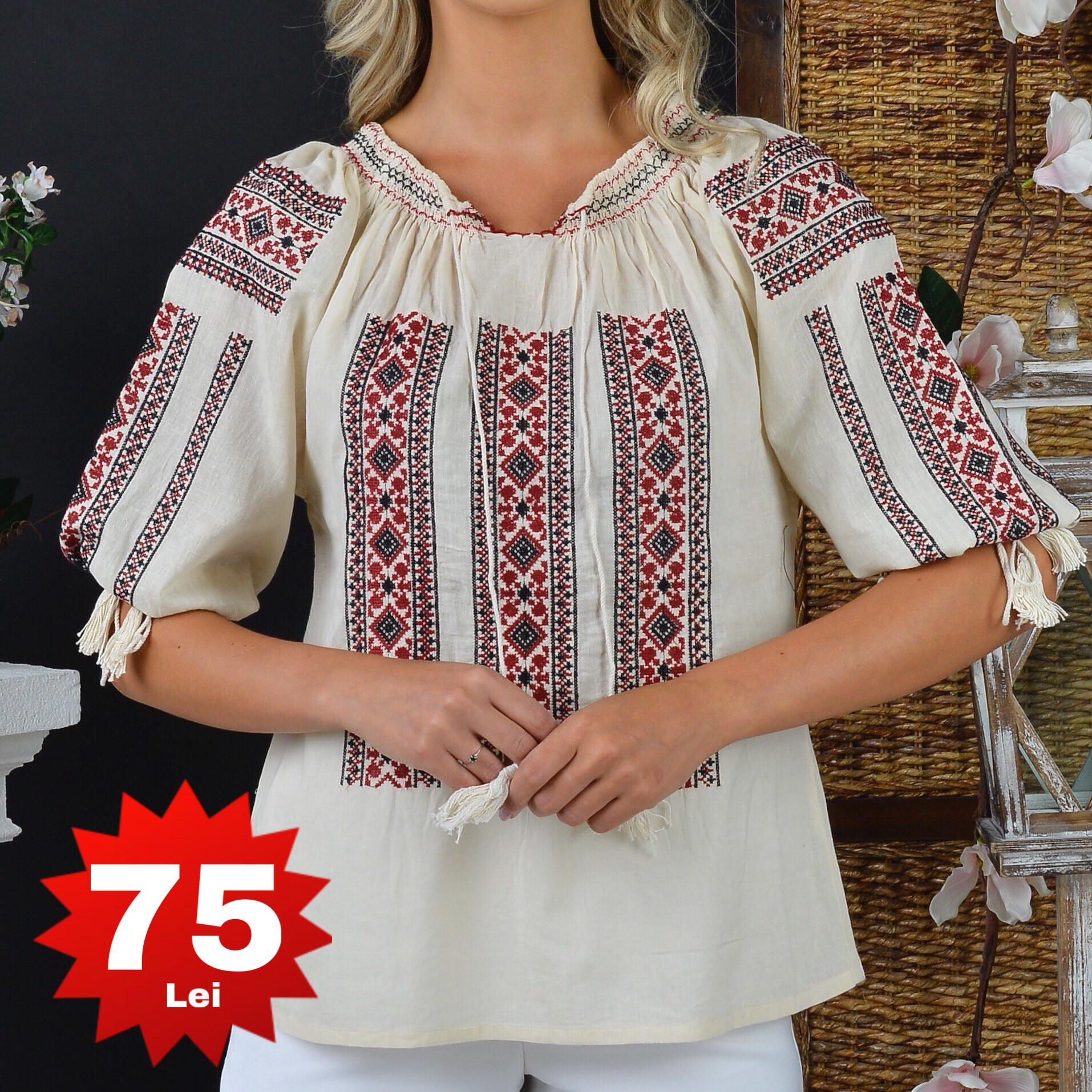Bluza Traditionala crem - Sonia