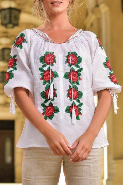 Bluza traditionala cu broderie florala - Letitia