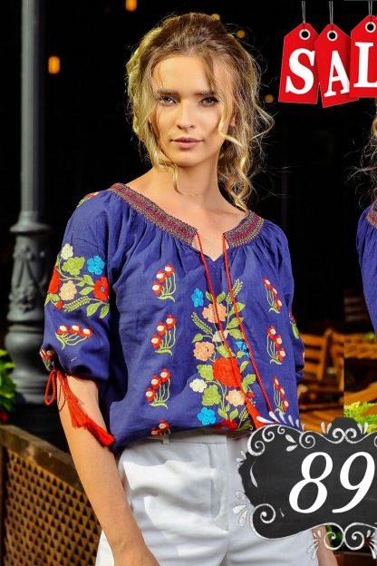 Bluza traditionala brodata bleumarin - Daria