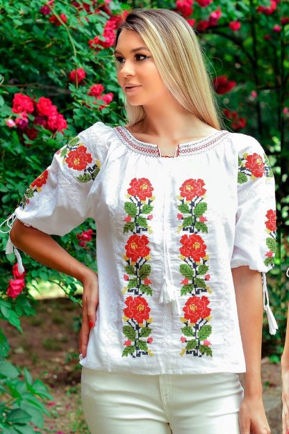 Bluza Traditionala alba brodata - Rosa