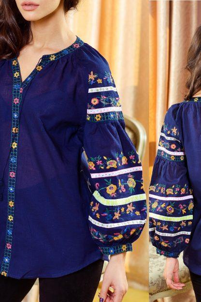 Bluza Traditionala bleumarin cu broderie florala - Stefania 01