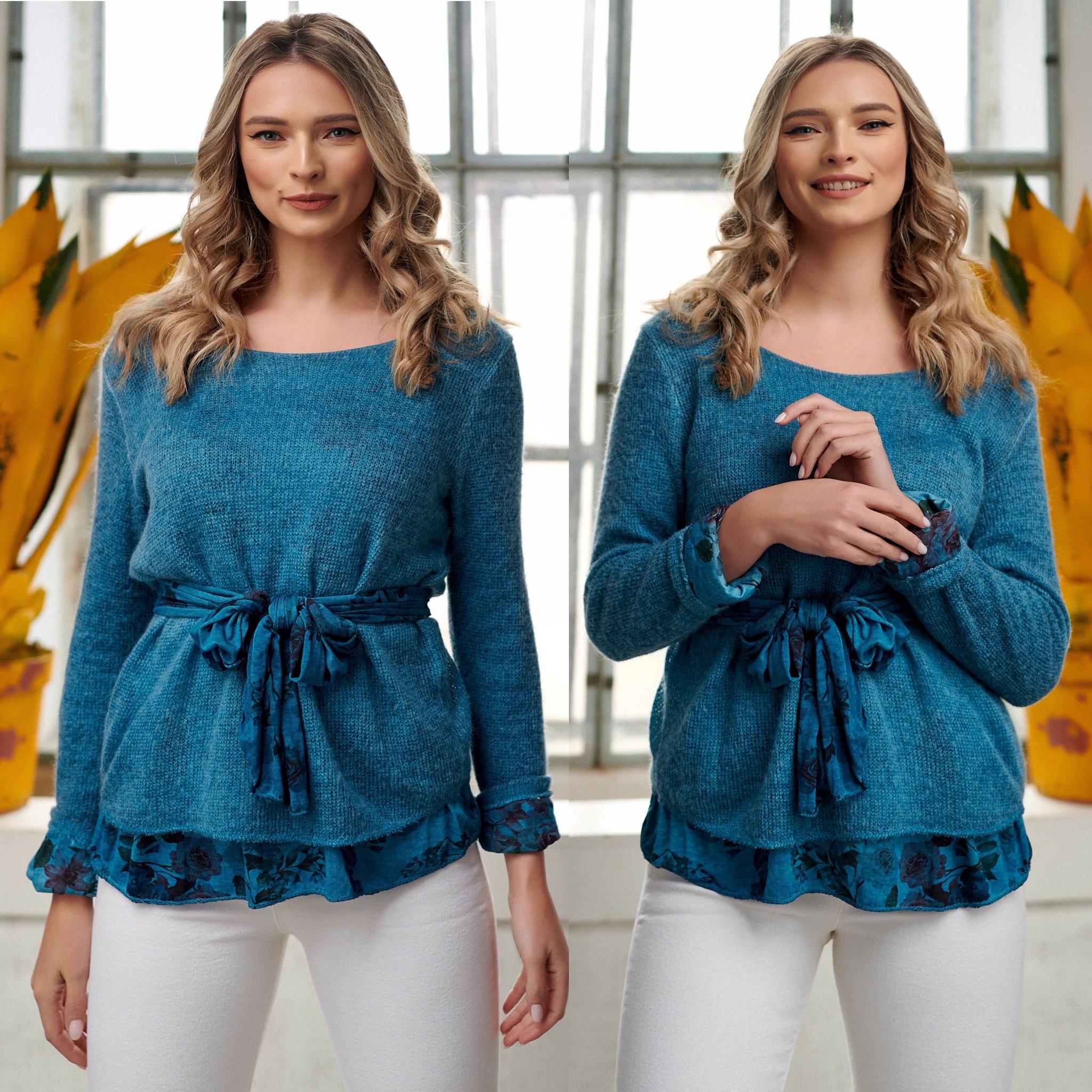 Bluza turcoaz din tricot cu dublura din bumbac si esarfa