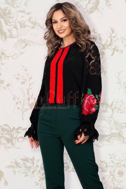 Bluza Venezia dama neagra cu broderie rosie