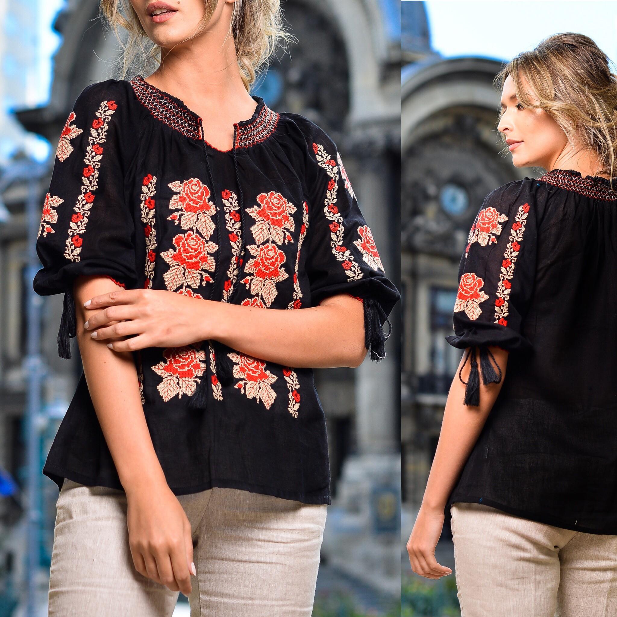 IE Nationala neagra cu broderie florala rosie - Andreea