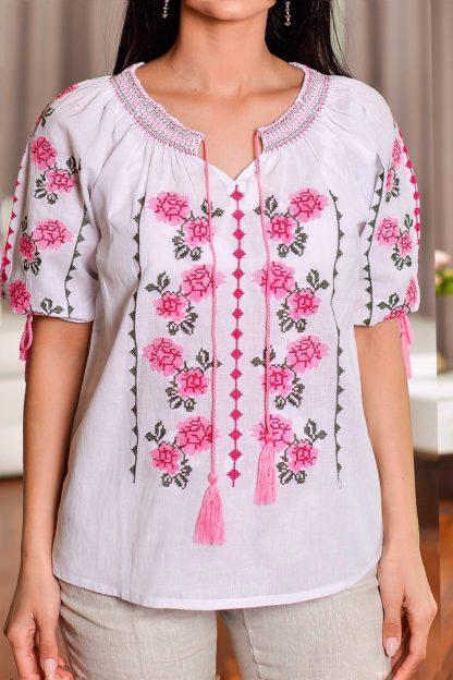 IE Traditionala cu broderie florala roz - Codruta 02