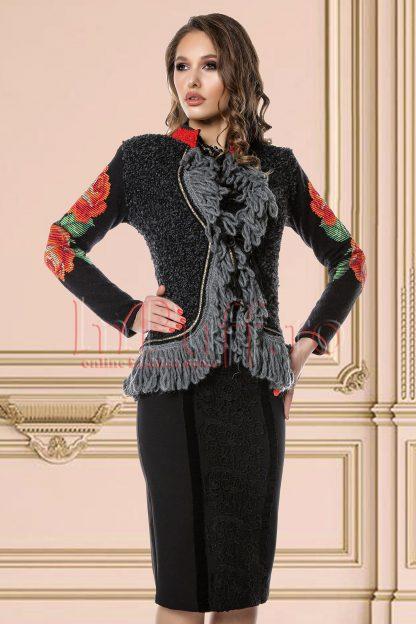 Jacheta Venezia eleganta cu franjuri si broderie florala