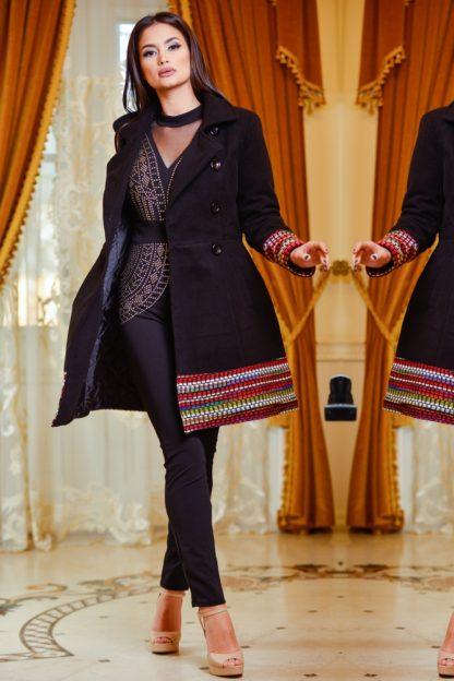 Palton din stofa de lana cu model tesut 1
