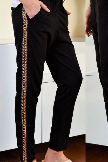 Pantaloni cu tesatura multicolora