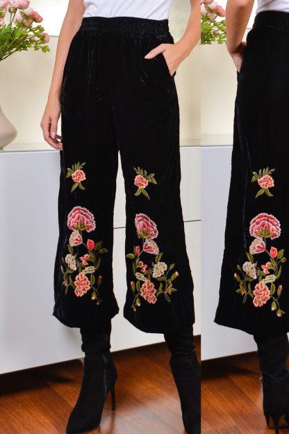 Pantaloni din catifea cu broderie florala