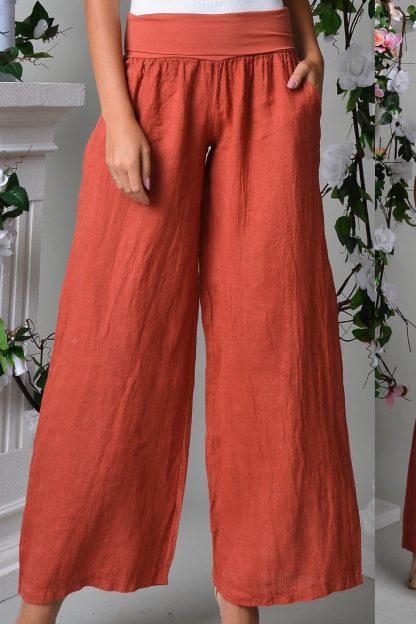 Pantaloni lungi din in - caramizii