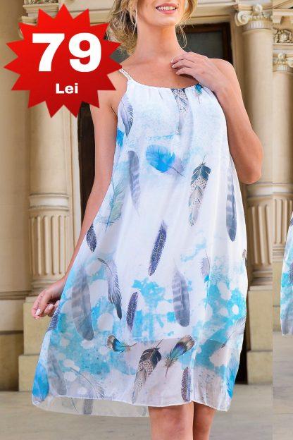Rochie alba din voal cu bretele si imprimeu bleu ciel