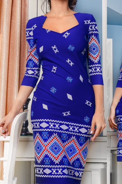 ROCHIE albastra cu motive traditionale imprimate digital - Catia