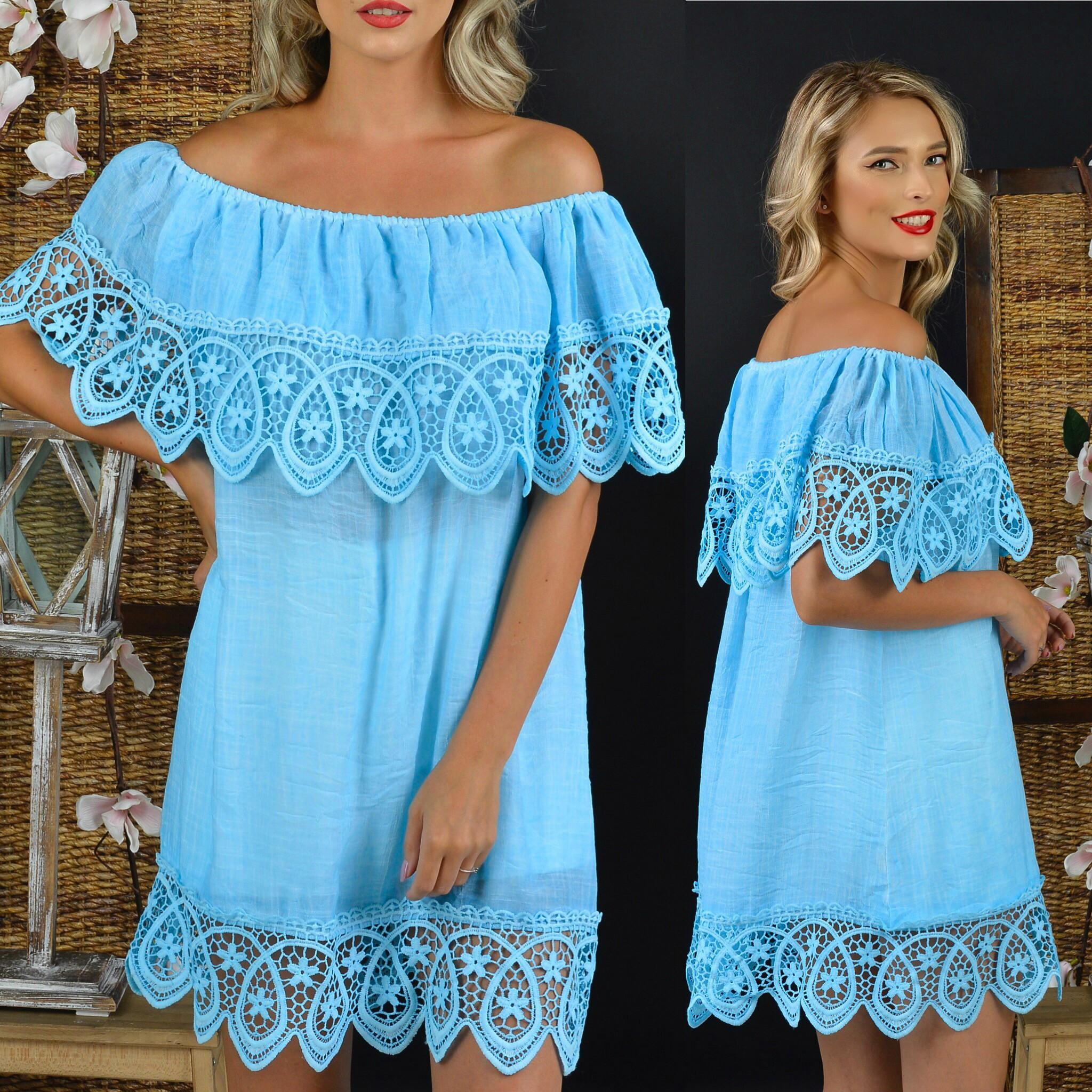 Rochie bleu stilizata cu dantela