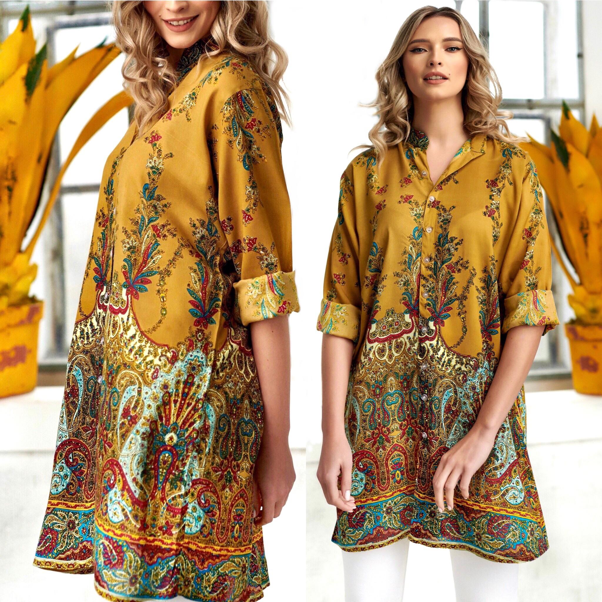 Rochie - camasa cu imprimeu floral - Catia bej
