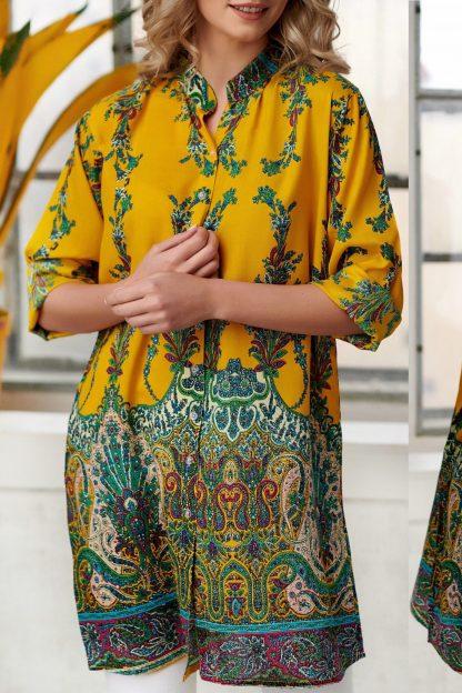 Rochie - camasa cu imprimeu floral - Catia galbena