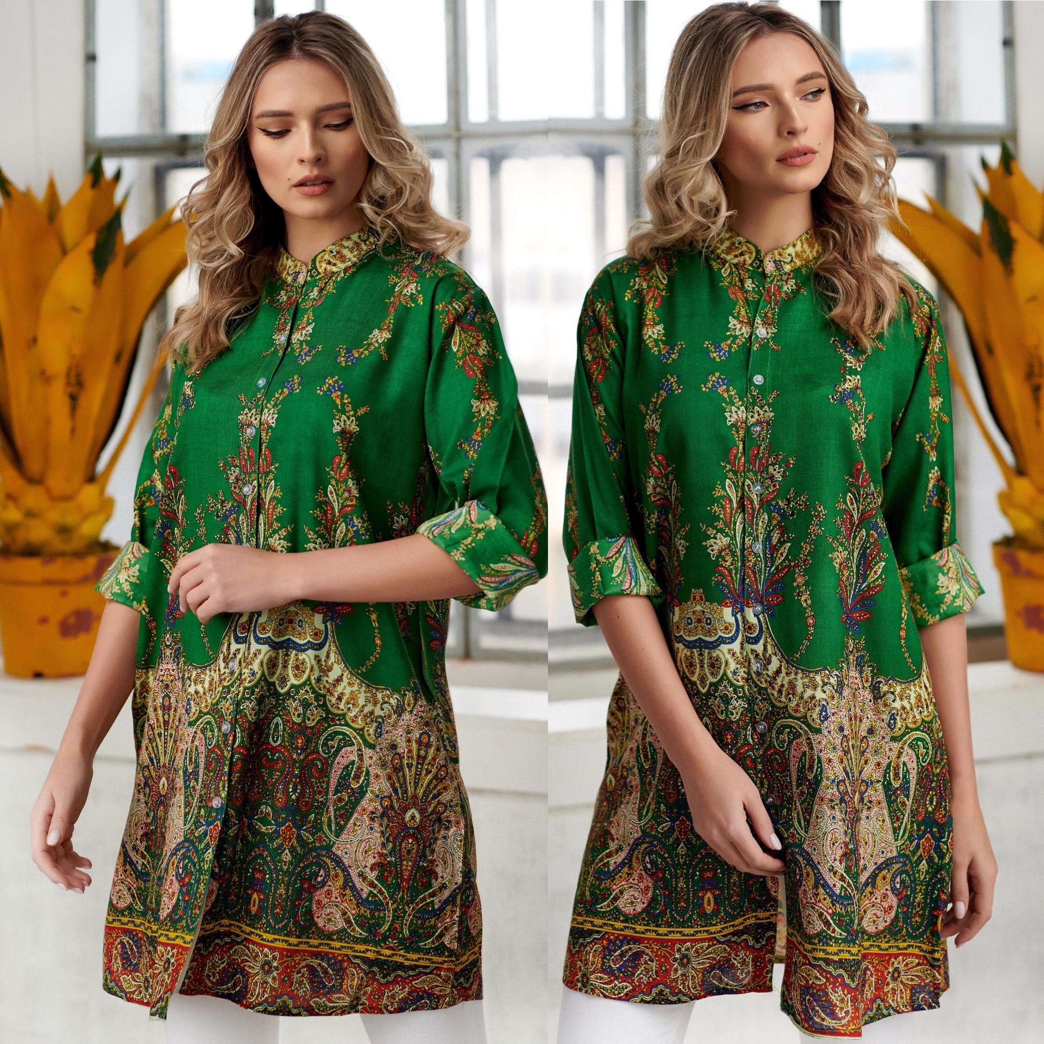 Rochie - camasa cu imprimeu floral - Catia verde