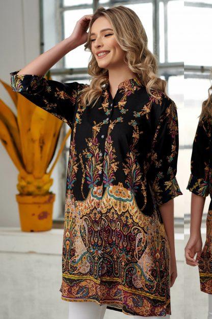 Rochie - camasa cu imprimeu floral - Catia negru