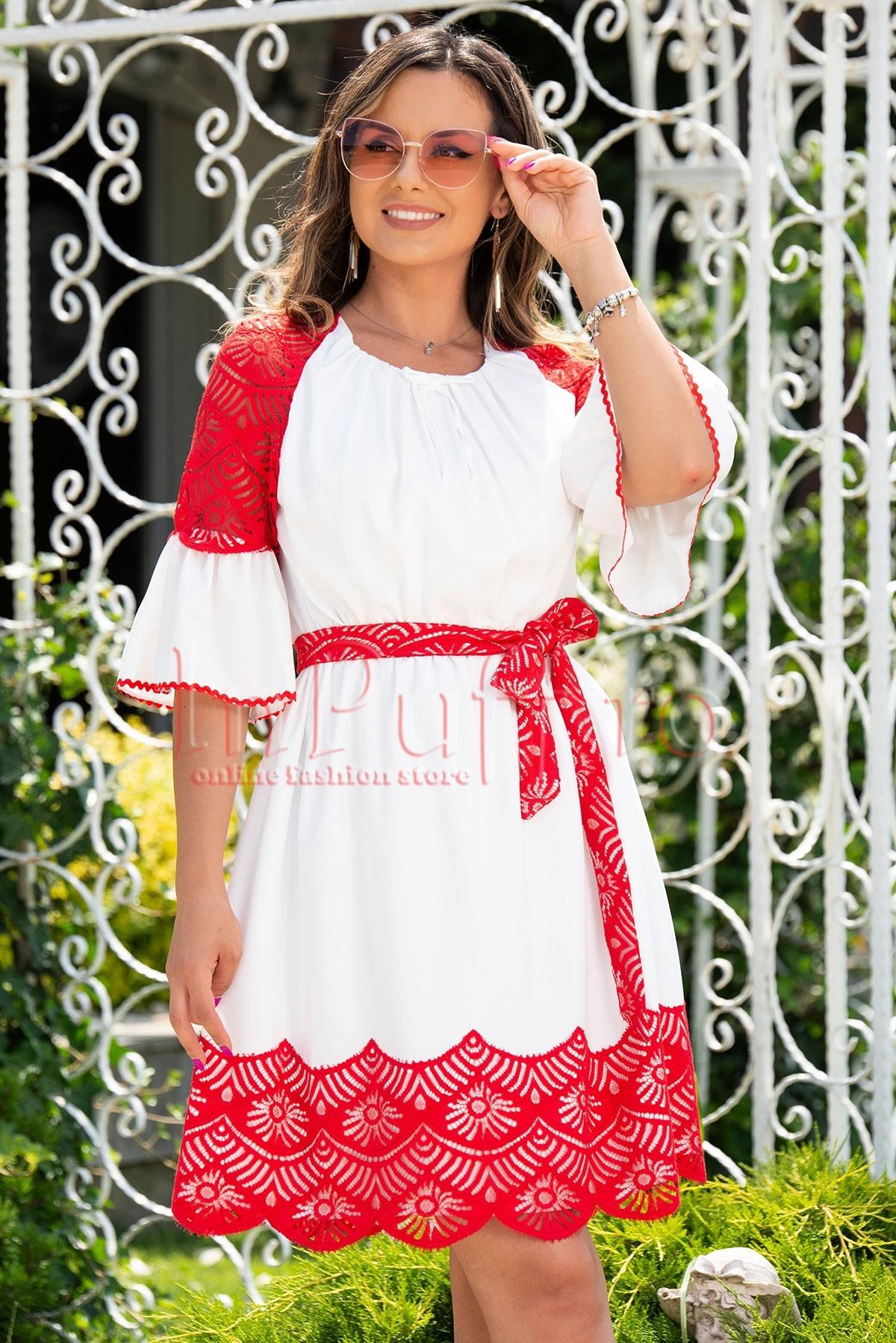 Rochie de zi alba cu inserii din dantela rosie