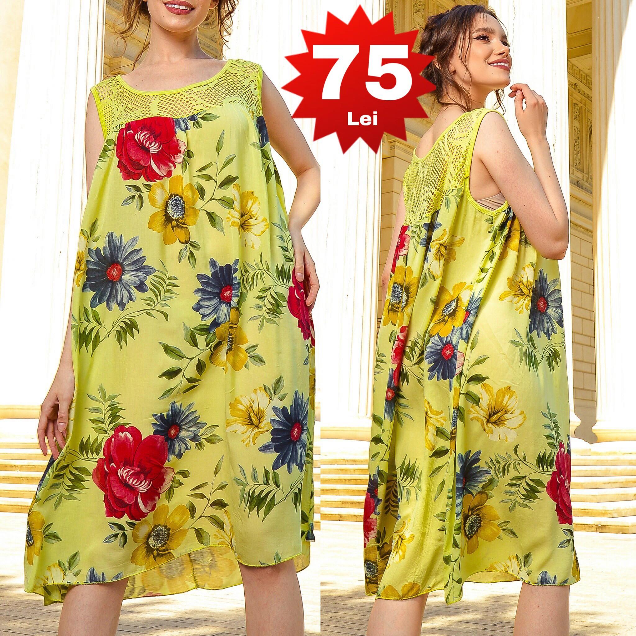 Rochie galbena vaporoasa cu imprimeu floral si dantela crosetata 01