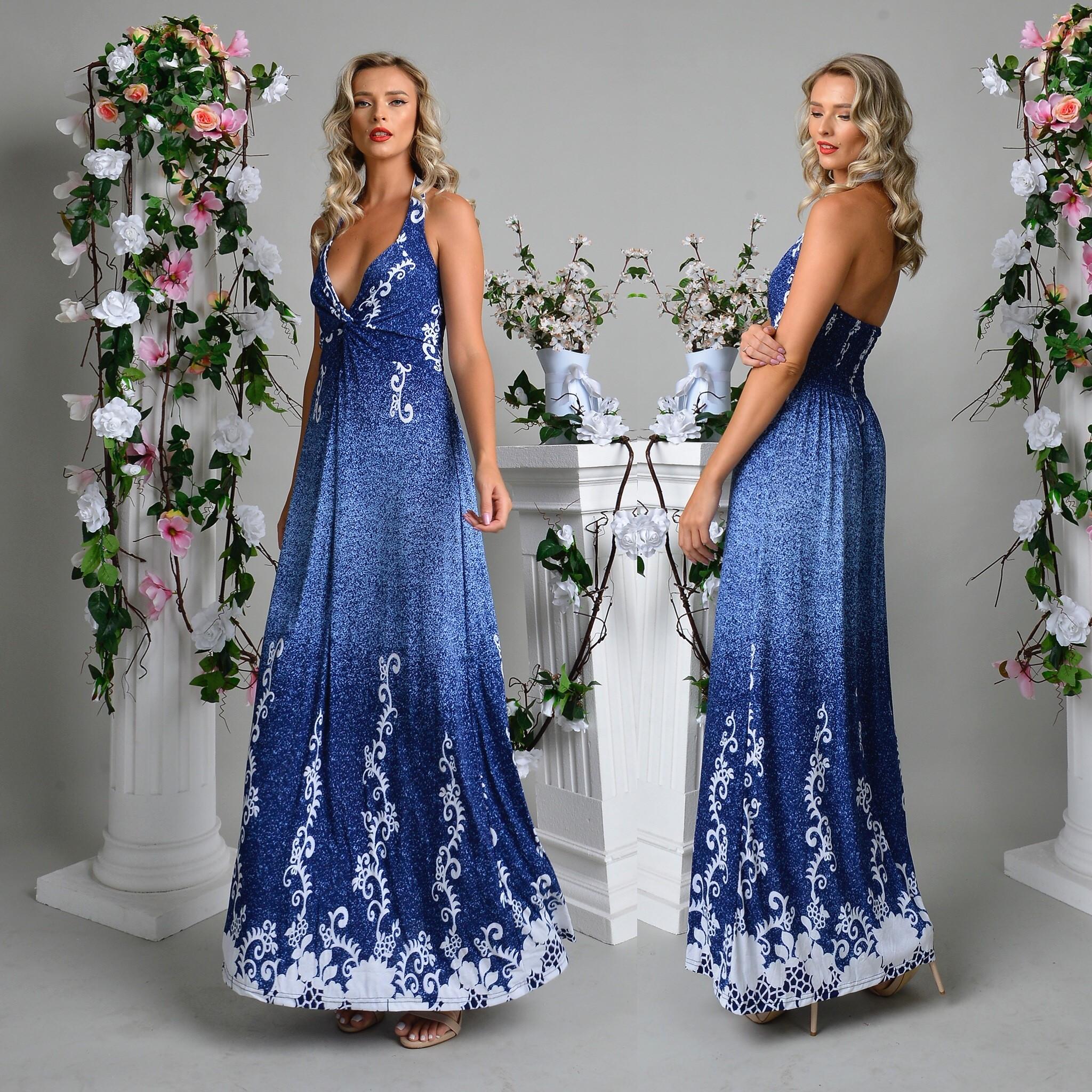 Rochie lunga albastra cu imprimeu