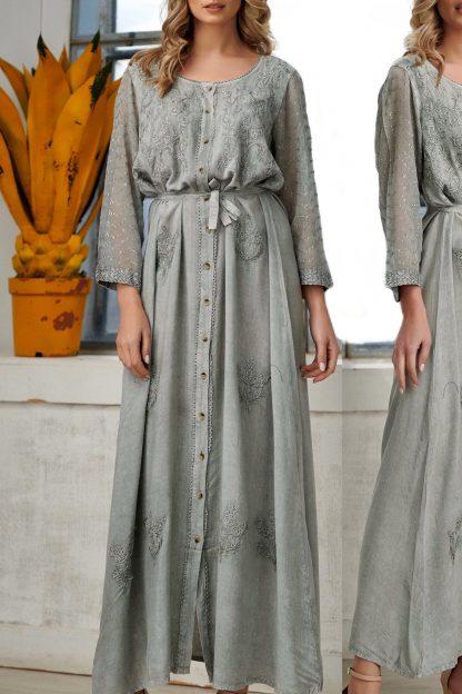 Rochie lunga brodata gri - Lidia