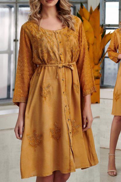Rochie lunga brodata orange - Lidia 03