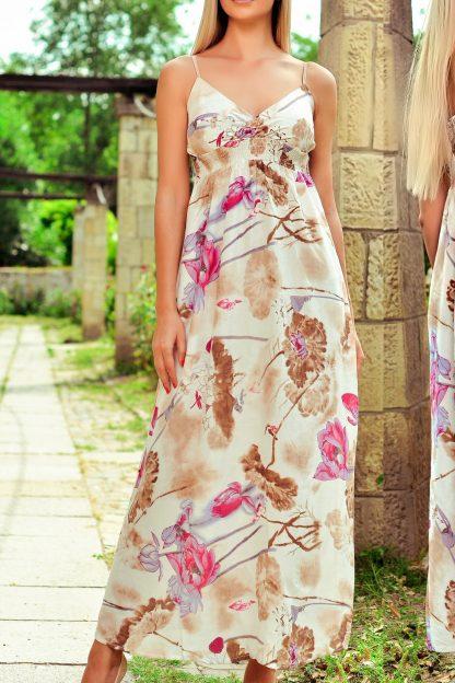 Rochie lunga cu imprimeu floral bej - Anda