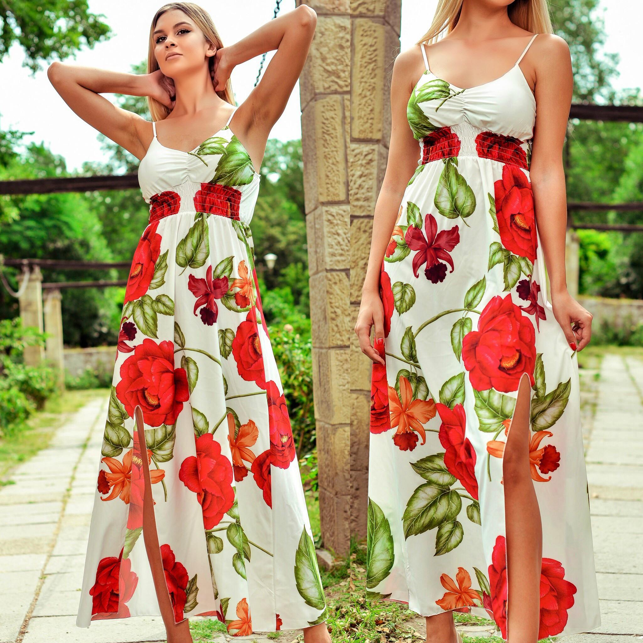 Rochie lunga cu imprimeu floral rosu - Andreea