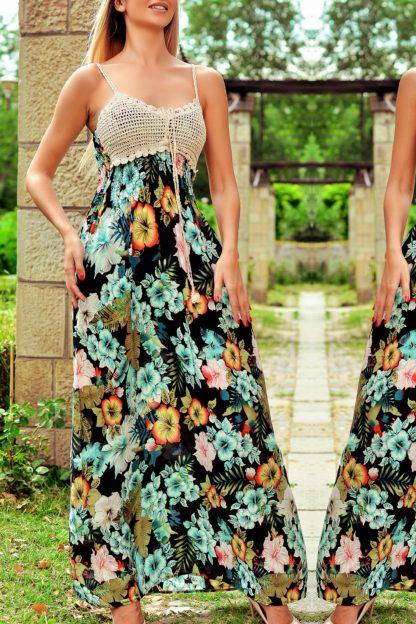 Rochie lunga cu imprimeu floral si dantela crosetata - Magda