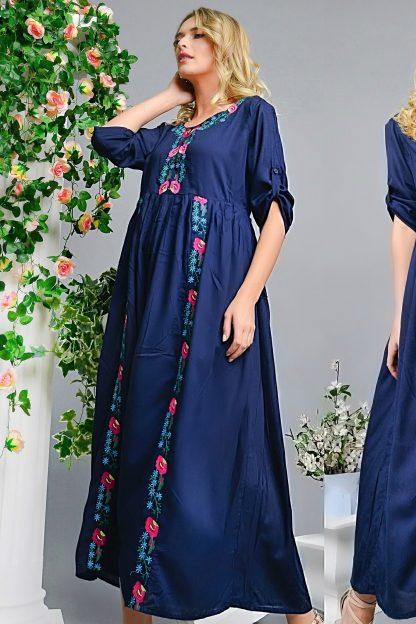 Rochie Nationala lunga bleumarin cu broderie florala - Ruxandra