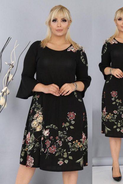 Rochie neagra cu imprimeu floral - Cris