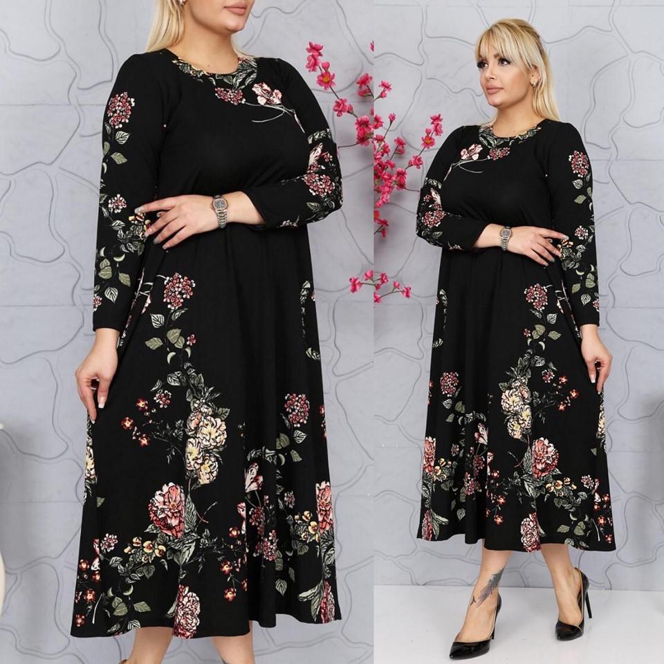 Rochie neagra cu imprimeu floral - Cristina