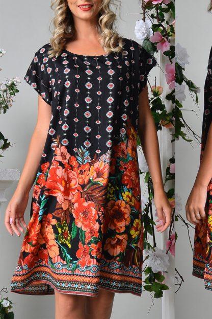 Rochie neagra cu imprimeu floral - Lavinia