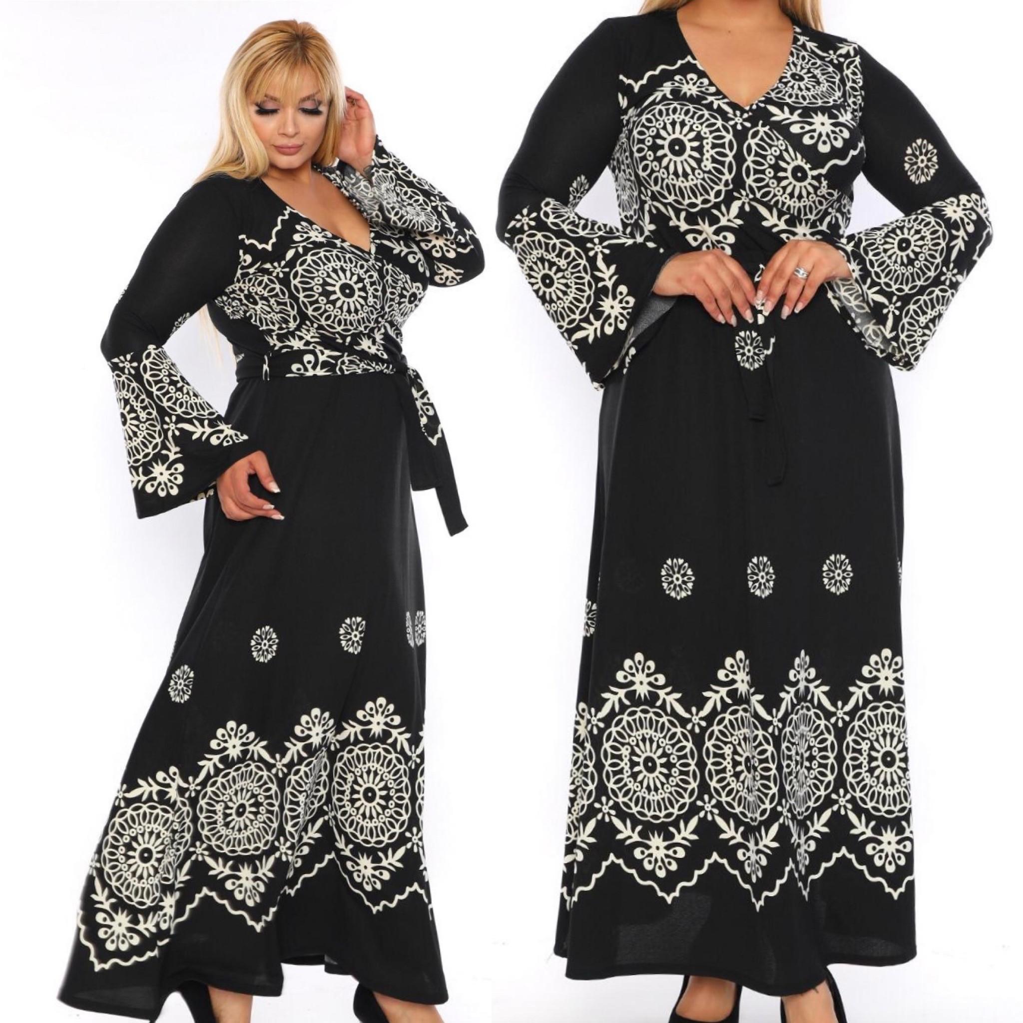 Rochie neagra lunga cu imprimeu alb - Crina 3