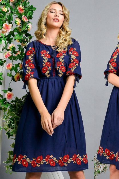 Rochie Traditionala bleumarin cu broderie florala - Simona