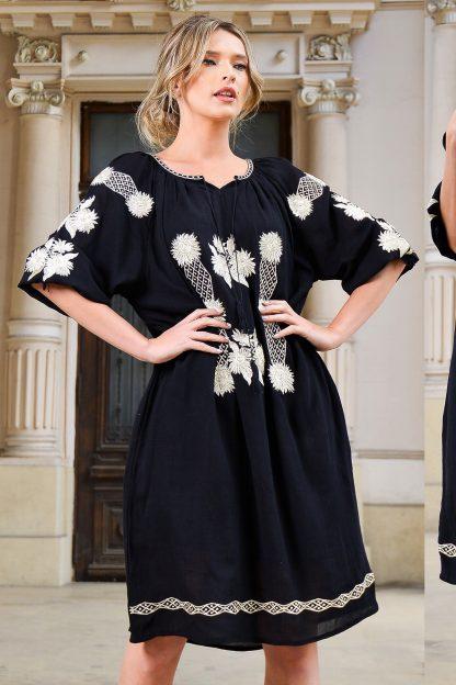 Rochie Traditionala neagra cu broderie florala 3D - Anastasia 03