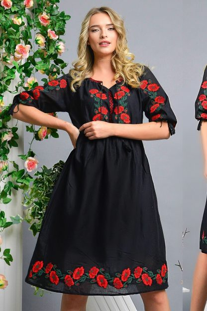 Rochie Traditionala neagra cu broderie florala - Simona