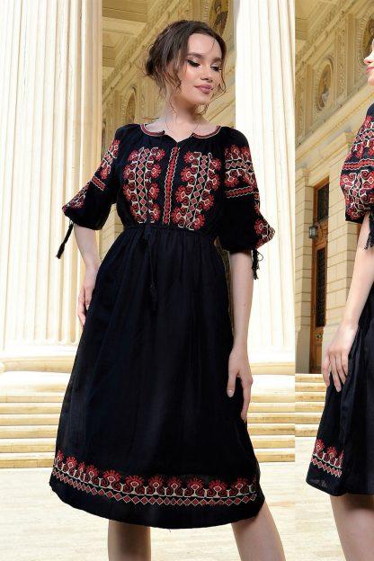 Rochie Traditionala neagra cu broderie rosie - Creasta