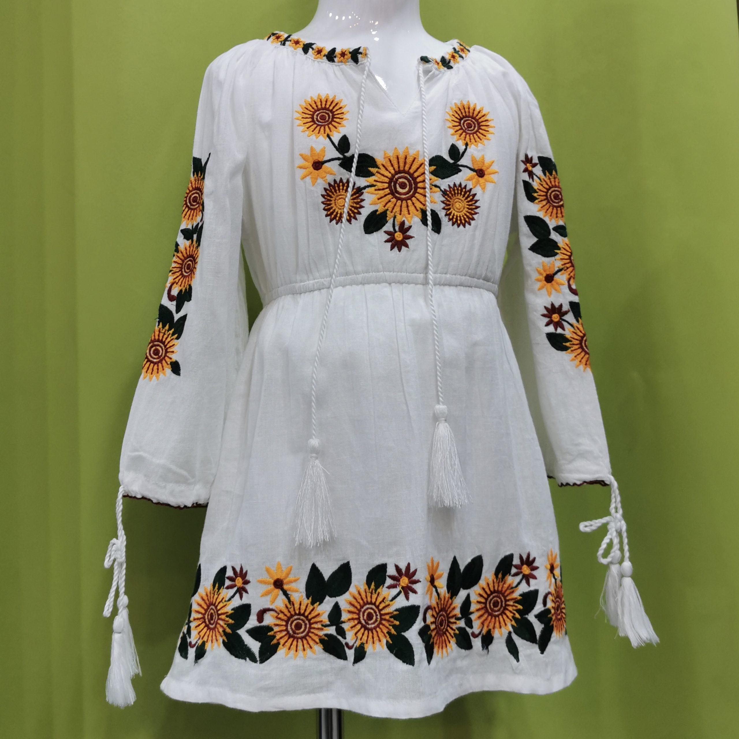 Rochie Traditionala pt. fetite - Floarea Soarelui alba