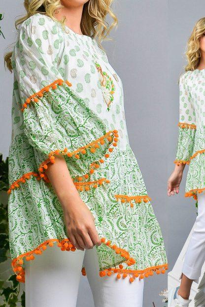 Rochie - tunica brodata cu imprimeu si ciucuri